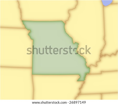 Missouri, vector map, with borders of surrounding states. 5 named layers, fully editable.