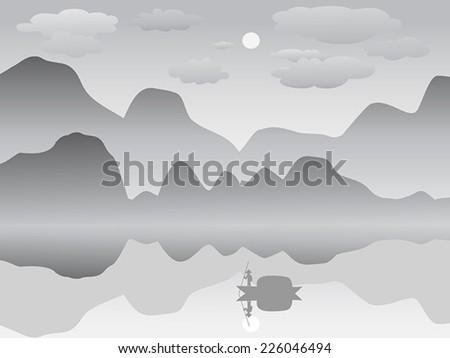 mist mountain reflection lake