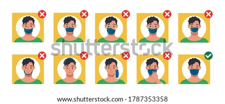 Mistakes people make while wearing a face masks. The right and wrong way to wear a mask. How to safely use reusable mask.