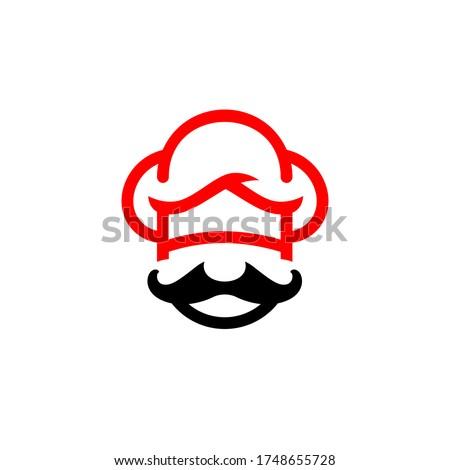 Mister Chef Logo Chef Cap and Mustache Symbol Foto stock ©