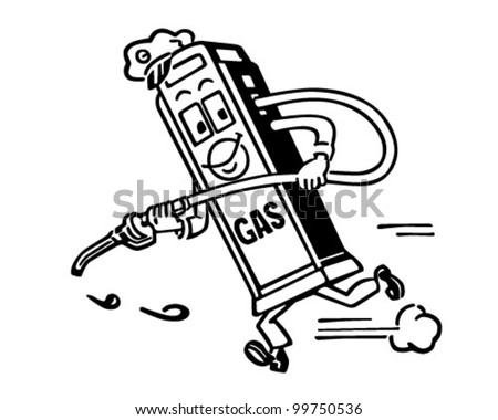 Mister Gas Pump - Retro Clipart Illustration