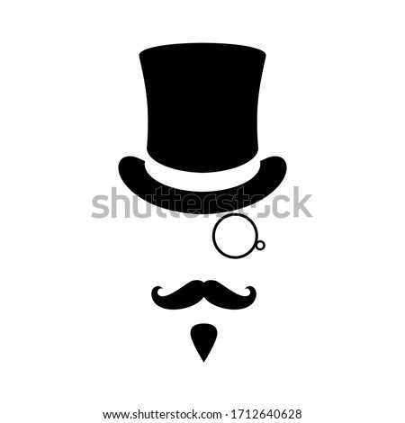 Mister graphic icon. Man with moustaches, beard, monocle and top hat. Graphic sign isolated on white background. Vector illustration Foto stock ©