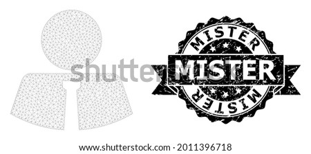 Mister grunge seal and vector mister mesh structure. Black seal has Mister caption inside ribbon and rosette. Abstract flat mesh mister, designed with flat mesh. Foto stock ©