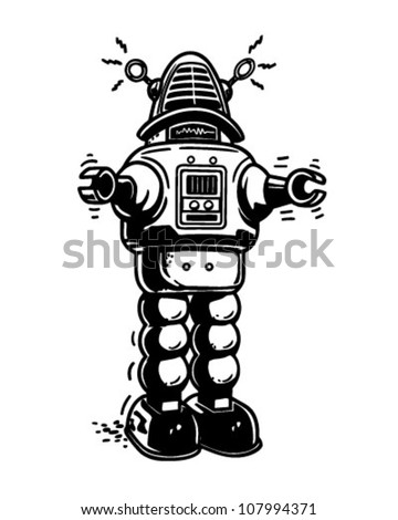 Mister Robot Retro Clipart Illustration