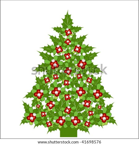 christmas tree clipart. and holly christmas tree