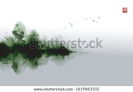 misty island with green forest