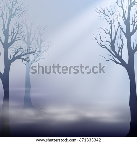 misty landscape silhouettes of