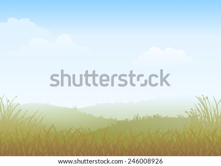 misty morning vector