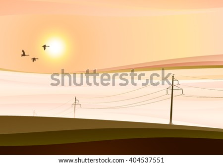 misty morning vector graphics