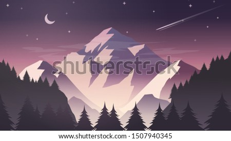 Misty Snow Mountain Cliff Pine Tree Forest Nature Landscape with Moon and Stars at Dusk, Dawn, Night