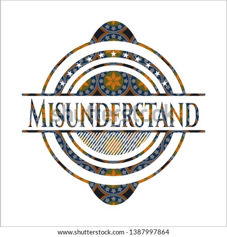 Misunderstand arabic badge. Arabesque decoration.