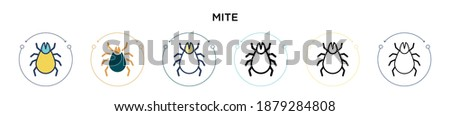 Mite icon in filled, thin line, outline and stroke style. Vector illustration of two colored and black mite vector icons designs can be used for mobile, ui, web Stock photo ©