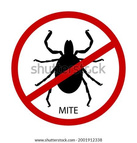 Mite parasites silhouette . vector illustration isolated on white background. Mite spider. Mite allergy. Mite epidemic. Stock photo ©