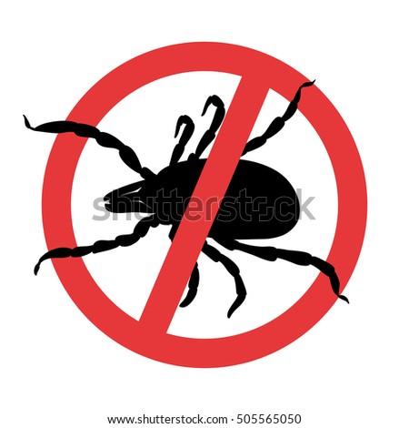 Mite parasites. Tick silhouette. Symbol parasite warning sign.  Stock photo ©