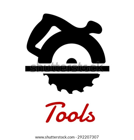 Miter saw black icon with circular saw blade and handle on the top of cutter head isolated on white background