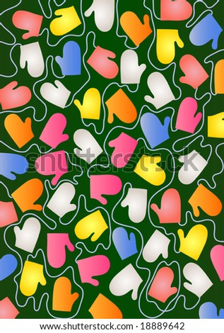 Mittens background - vector illustration. Fully editable, easy color change.
