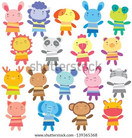 mix animal dolls clip art