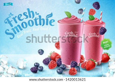 mix berry smoothie ads with