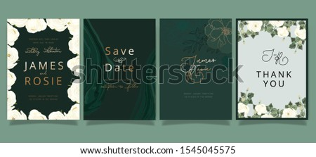 Mix Emerald green Luxury Wedding Invitation, floral invite thank you, rsvp modern card Design in white rose and peony with  leaf greenery  branches decorative Vector elegant rustic template
