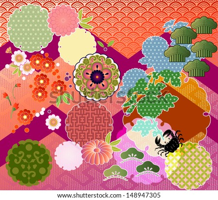 mix-n-match: traditional Japanese motifs interpreted in contemporary EPS-10 transparencies and blending modes Foto stock ©
