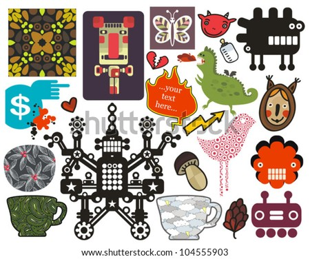 Mix of different vector images and icons. vol.57 - stock vector