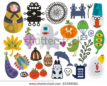 Mix of different vector images and icons. vol.23