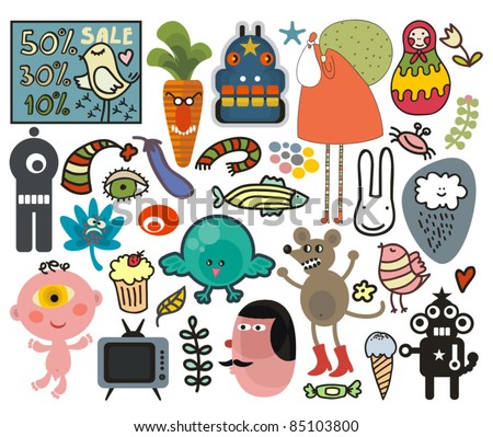 Mix of different vector images and icons. vol.29