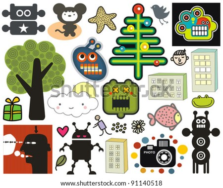 Mix of different vector images and icons. vol.35