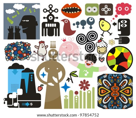 mix of different vector images