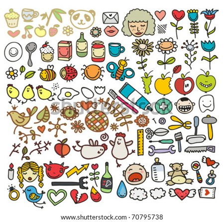 Mix of doodle images in vector. vol. 5