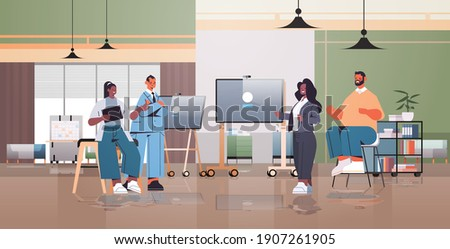 mix race businesspeople making presentation in coworking center business meeting teamwork concept modern office interior horizontal full length vector illustration Photo stock ©