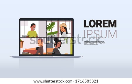 mix race friends meeting during video call Covid-19 pandemic coronavirus quarantine concept people having virtual fun live conference laptop screen horizontal copy space vector illustration