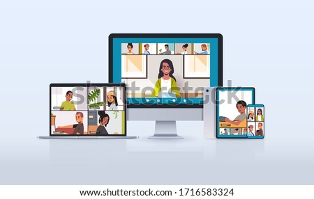 mix race friends meeting during video call Covid-19 pandemic coronavirus quarantine concept people having virtual fun live conference on different devices cross platform vector illustration