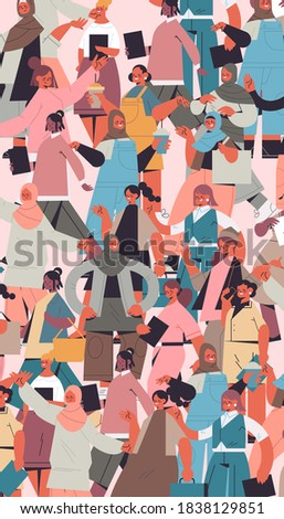 mix race girls of different nationalities and cultures standing together female empowerment movement women's power union of feminists concept vertical portrait vector illustration Stockfoto ©