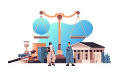 mix race lawyers discussing during meeting legal law advice justice concept gavel and judge book scales and courthouse horizontal full length vector illustration