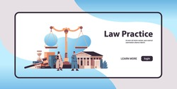 mix race lawyers discussing during meeting legal law advice justice concept gavel and judge book scales and courthouse horizontal full length copy space vector illustration