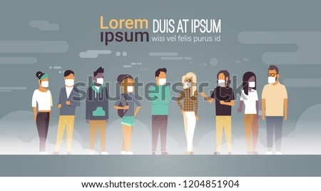 mix race people group in mask over grey smog nature air pollution city landscape atmosphere male female full length copy space banner flat vector illustration
