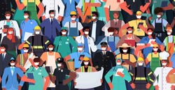 mix race people of different occupations standing together labor day celebration concept men women wearing masks to prevent coronavirus horizontal vector illustration