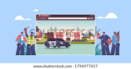 mix race policemen near digital city police station department building with police car in web browser window horizontal full length vector illustration Foto stock ©