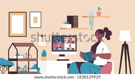 mix race women on monitor screen reading books with woman during video call book club self isolation concept living room interior horizontal portrait vector illustration Photo stock ©