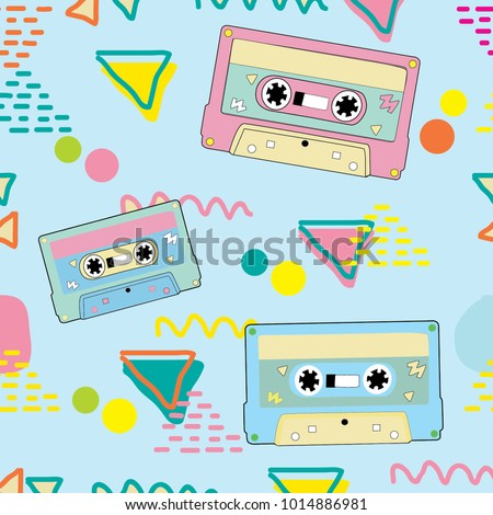 mix tape vector, cassette vector pattern