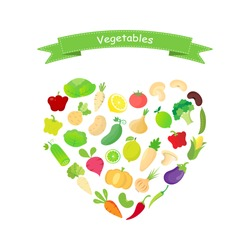 Mix vegetables icon collection set in heart shape isolated on white background. Healthy food cencept. Vector.Illustration.