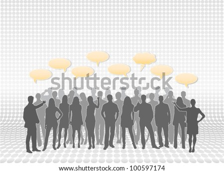 Mixed female and male person silhouettes in layers with text callouts. Silhouette vectors are separate from each other for easy editing and modifications - stock vector
