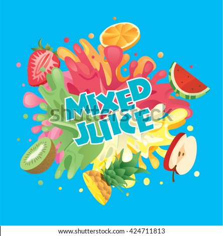 mixed fruit juice splash with