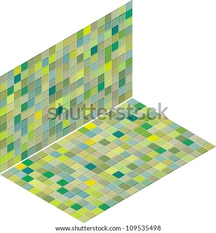 mixed green tiled wall floor pavement