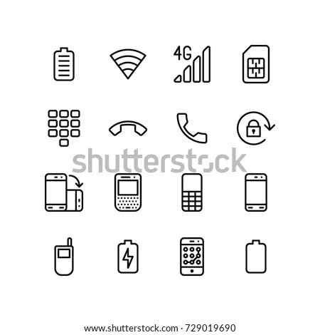 Mixed icons of mobile phone and network
