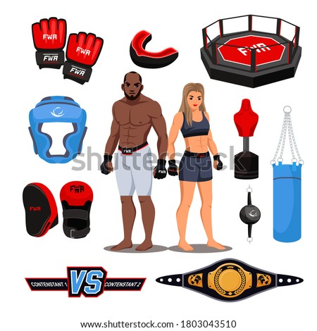 Mixed martial arts accessory and professional item. Sportsman and sportswoman character. Ring, gloves, capa, punching bag, slum, cue ball, champion belt, training mannequin isolated vector set Stock fotó ©