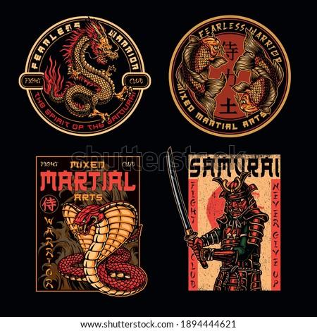 Mixed martial arts fight club badges in vintage style with fantasy dragon snake koi carps and samurai in armor holding katana sword isolated vector illustration. Japan translation - Samurai, Warrior