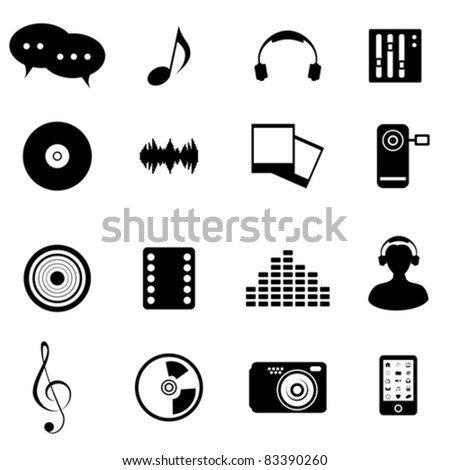 Mixed media icon set in black - stock vector