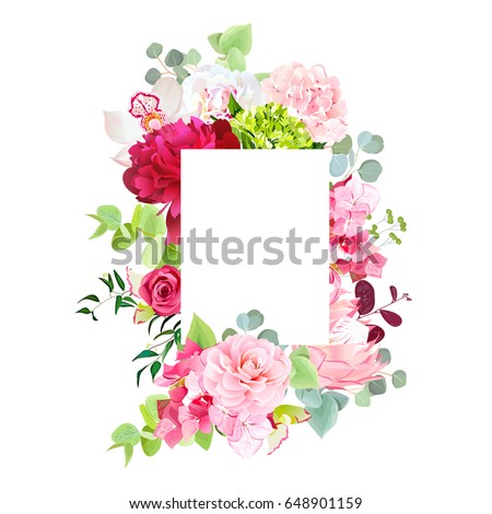 Mixed vector design square card. White and burgundy red peony, pink rose, hydrangea flowers, orchid, camellia, protea, eucalyptus leaves. All elements are isolated and editable.